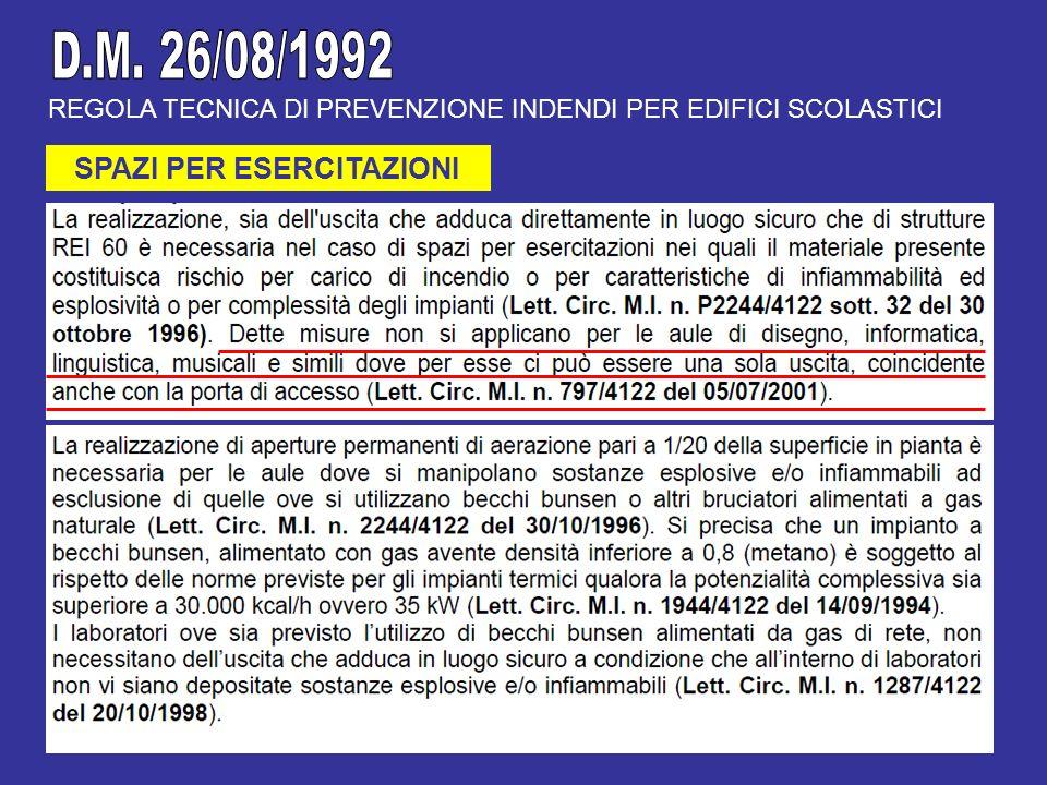 REGOLA TECNICA DI PREVENZIONE INDENDI PER EDIFICI SCOLASTICI SPAZI PER ESERCITAZIONI