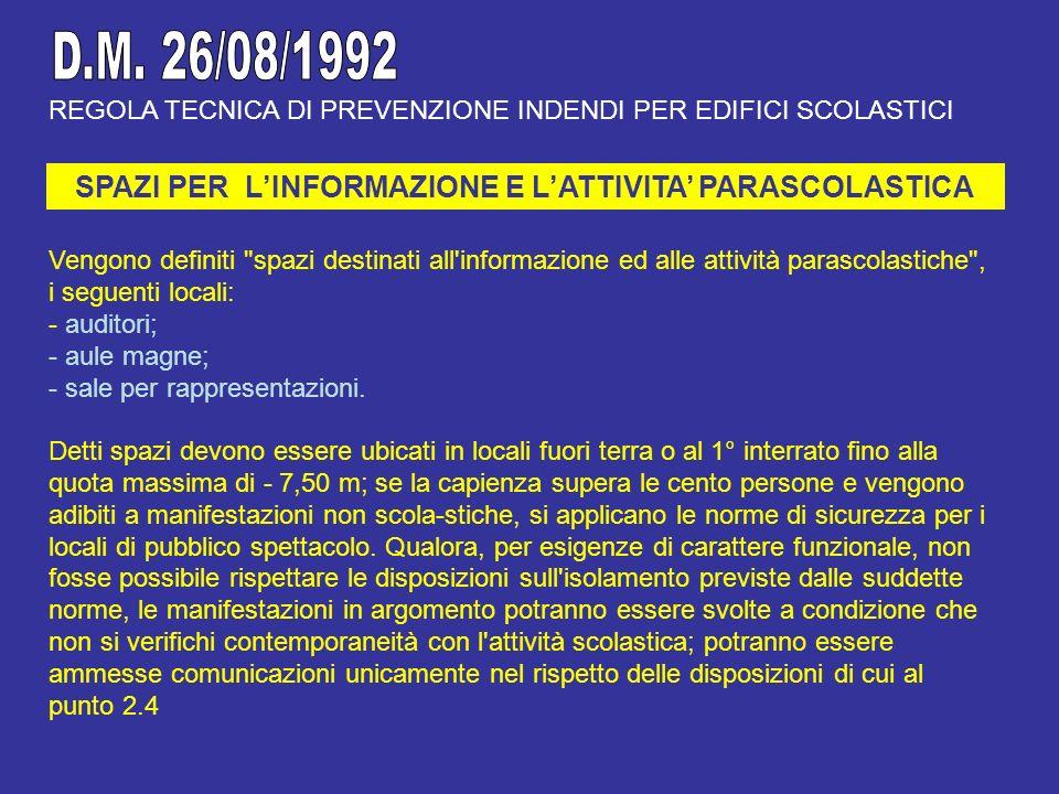 REGOLA TECNICA DI PREVENZIONE INDENDI PER EDIFICI SCOLASTICI SPAZI PER LINFORMAZIONE E LATTIVITA PARASCOLASTICA Vengono definiti