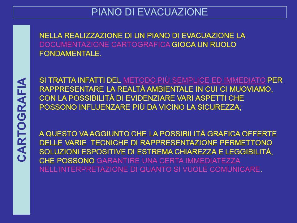 PIANO DI EVACUAZIONE CARTOGRAFIA NELLA REALIZZAZIONE DI UN PIANO DI EVACUAZIONE LA DOCUMENTAZIONE CARTOGRAFICA GIOCA UN RUOLO FONDAMENTALE. SI TRATTA