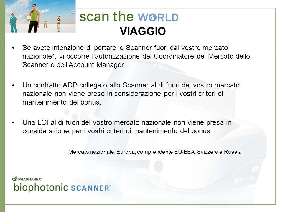 VIAGGIO Se avete intenzione di portare lo Scanner fuori dal vostro mercato nazionale*, vi occorre l autorizzazione del Coordinatore del Mercato dello Scanner o dell Account Manager.