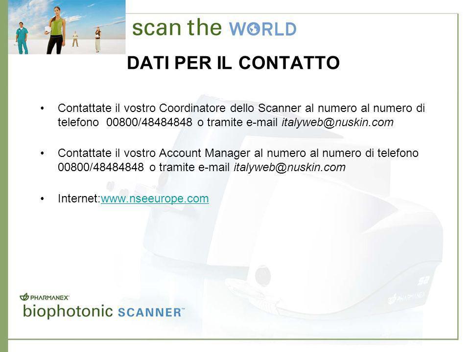 DATI PER IL CONTATTO Contattate il vostro Coordinatore dello Scanner al numero al numero di telefono 00800/48484848 o tramite e-mail italyweb@nuskin.com Contattate il vostro Account Manager al numero al numero di telefono 00800/48484848 o tramite e-mail italyweb@nuskin.com Internet:www.nseeurope.comwww.nseeurope.com