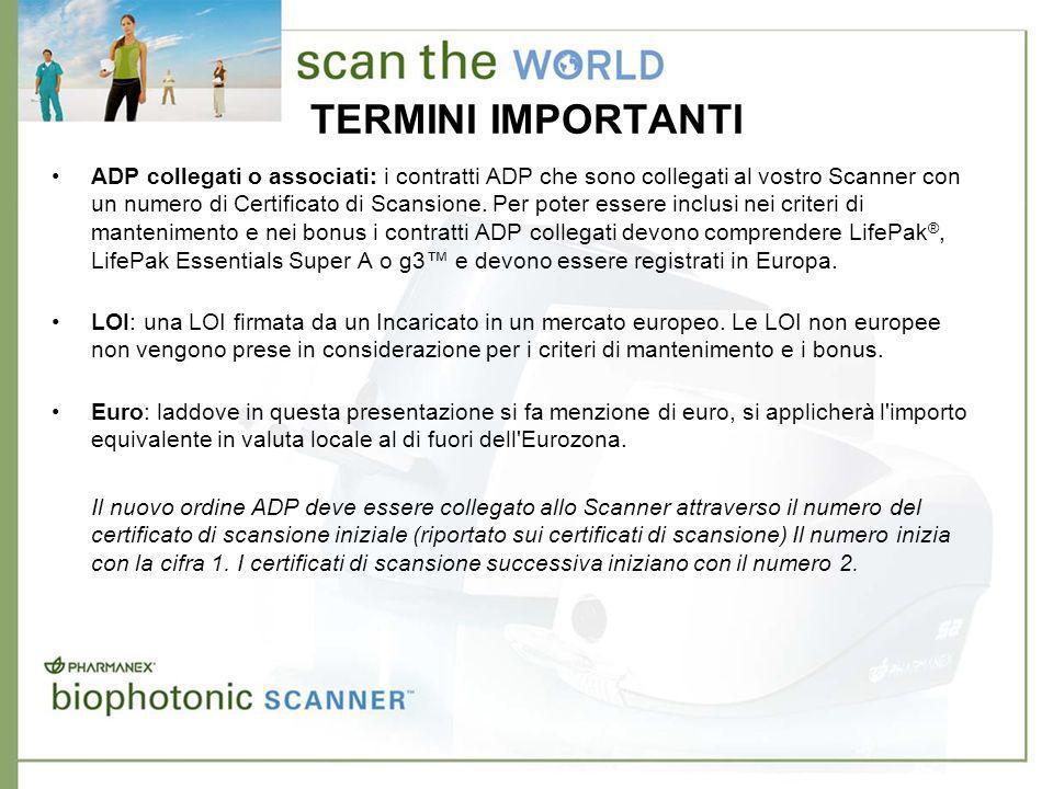 TERMINI IMPORTANTI ADP collegati o associati: i contratti ADP che sono collegati al vostro Scanner con un numero di Certificato di Scansione.