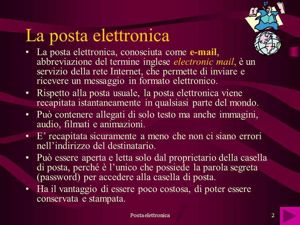 Posta elettronica3 Per mezzo di uno specifico programma per la posta elettronica, si scrive il messaggio, lindirizzo di posta del destinatario e si avvia la procedura di invio.