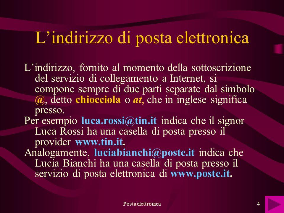 Posta elettronica4 Lindirizzo di posta elettronica Lindirizzo, fornito al momento della sottoscrizione del servizio di collegamento a Internet, si com