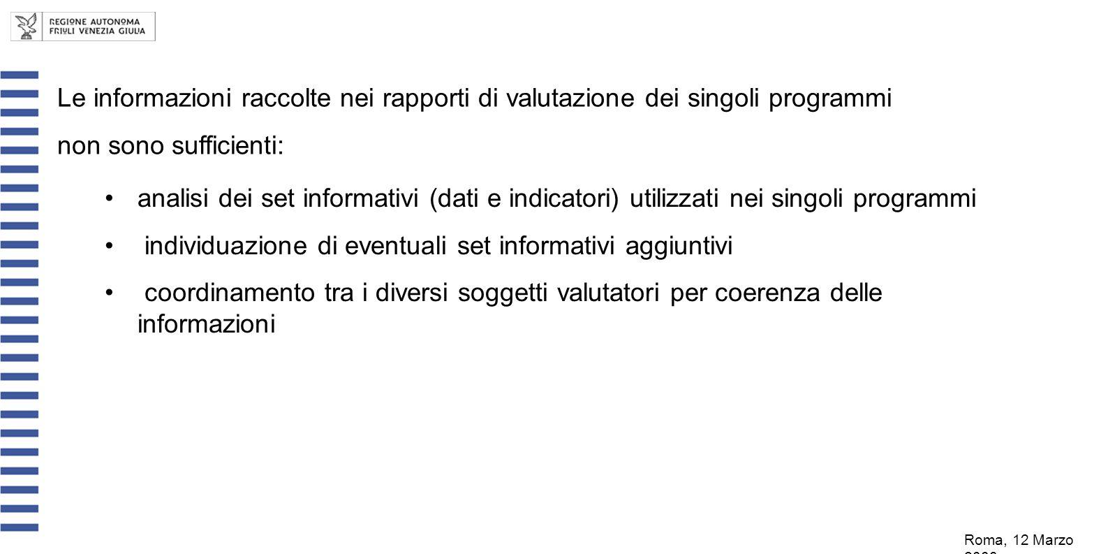 Le informazioni raccolte nei rapporti di valutazione dei singoli programmi non sono sufficienti: Roma, 12 Marzo 2008 analisi dei set informativi (dati