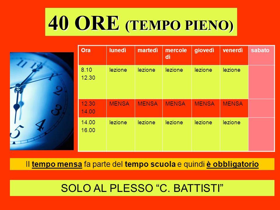 40 ORE (TEMPO PIENO) Oralunedìmartedìmercole dì giovedìvenerdìsabato 8.10 12.30 lezione 12.30 14.00 MENSA 14.00 16.00 lezione SOLO AL PLESSO C. BATTIS