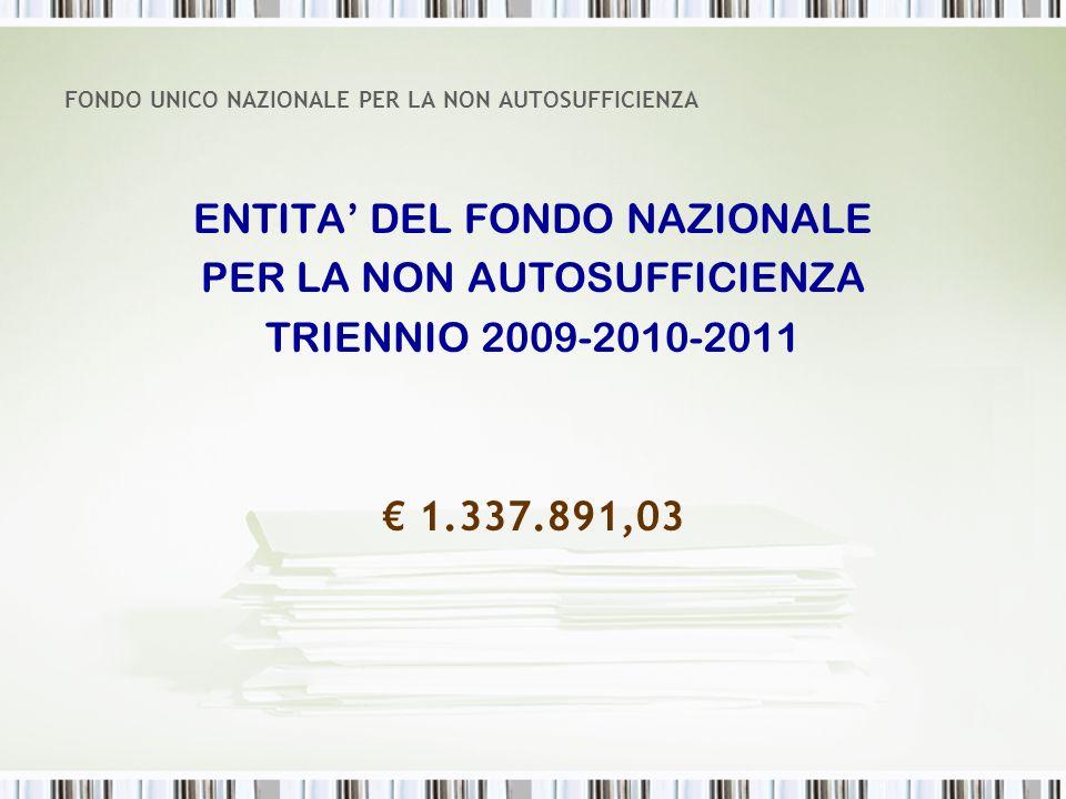 FONDO UNICO NAZIONALE PER LA NON AUTOSUFFICIENZA ENTITA DEL FONDO NAZIONALE PER LA NON AUTOSUFFICIENZA TRIENNIO 2009-2010-2011 1.337.891,03
