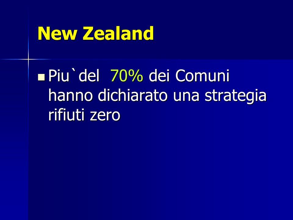 New Zealand Piu`del 70% dei Comuni hanno dichiarato una strategia rifiuti zero Piu`del 70% dei Comuni hanno dichiarato una strategia rifiuti zero