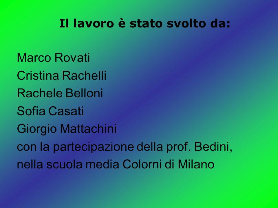 Marco Rovati Cristina Rachelli Rachele Belloni Sofia Casati Giorgio Mattachini con la partecipazione della prof.
