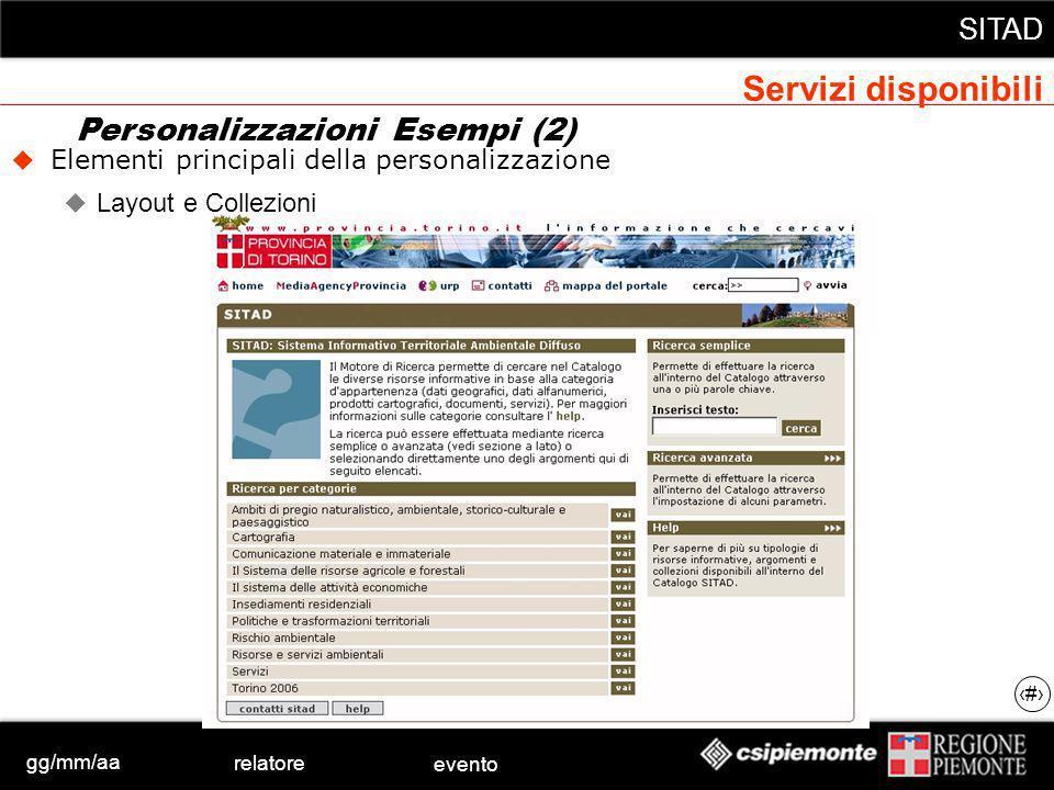 gg/mm/aa relatore evento SITAD 22 Elementi principali della personalizzazione Layout e Collezioni Personalizzazioni Esempi (2) Servizi disponibili