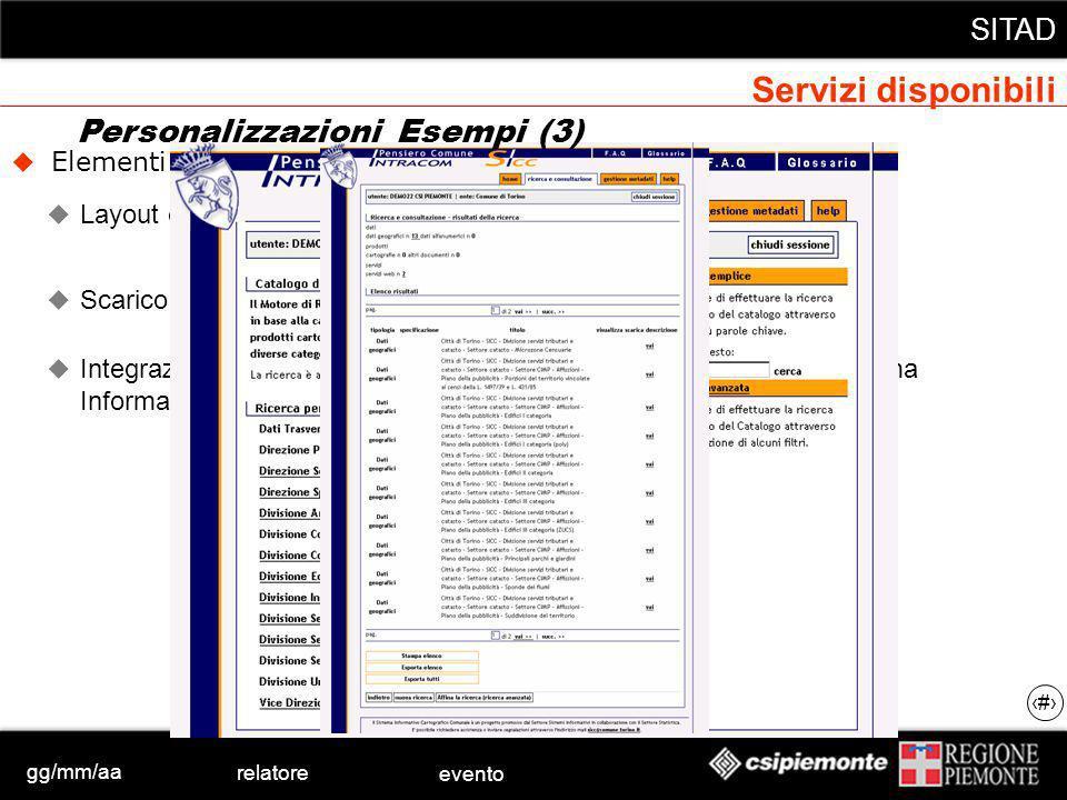 gg/mm/aa relatore evento SITAD 23 Elementi principali della personalizzazione Layout e Collezioni Scarico dati protetto Integrazione, sia nella navigazione, sia nellautenticazione, nel Sistema Informativo specifico dellente (SICC) Personalizzazioni Esempi (3) Servizi disponibili