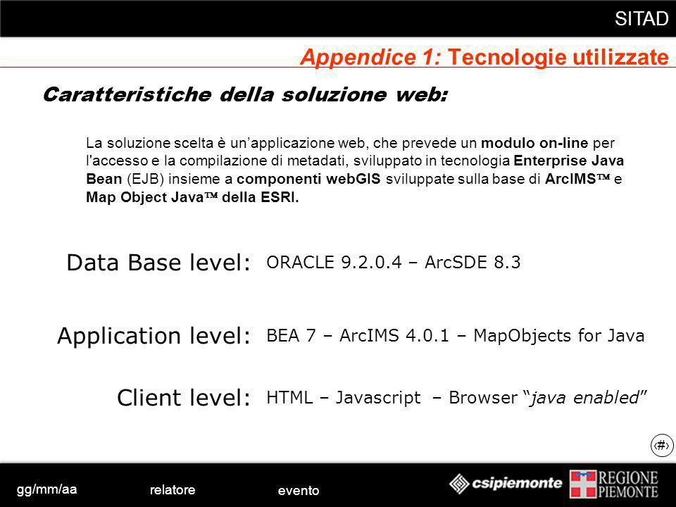 gg/mm/aa relatore evento SITAD 27 Appendice 1: Tecnologie utilizzate Caratteristiche della soluzione web: BEA 7 – ArcIMS 4.0.1 – MapObjects for Java Application level: Data Base level: Client level: ORACLE 9.2.0.4 – ArcSDE 8.3 HTML – Javascript – Browser java enabled La soluzione scelta è unapplicazione web, che prevede un modulo on-line per l accesso e la compilazione di metadati, sviluppato in tecnologia Enterprise Java Bean (EJB) insieme a componenti webGIS sviluppate sulla base di ArcIMS e Map Object Java della ESRI.