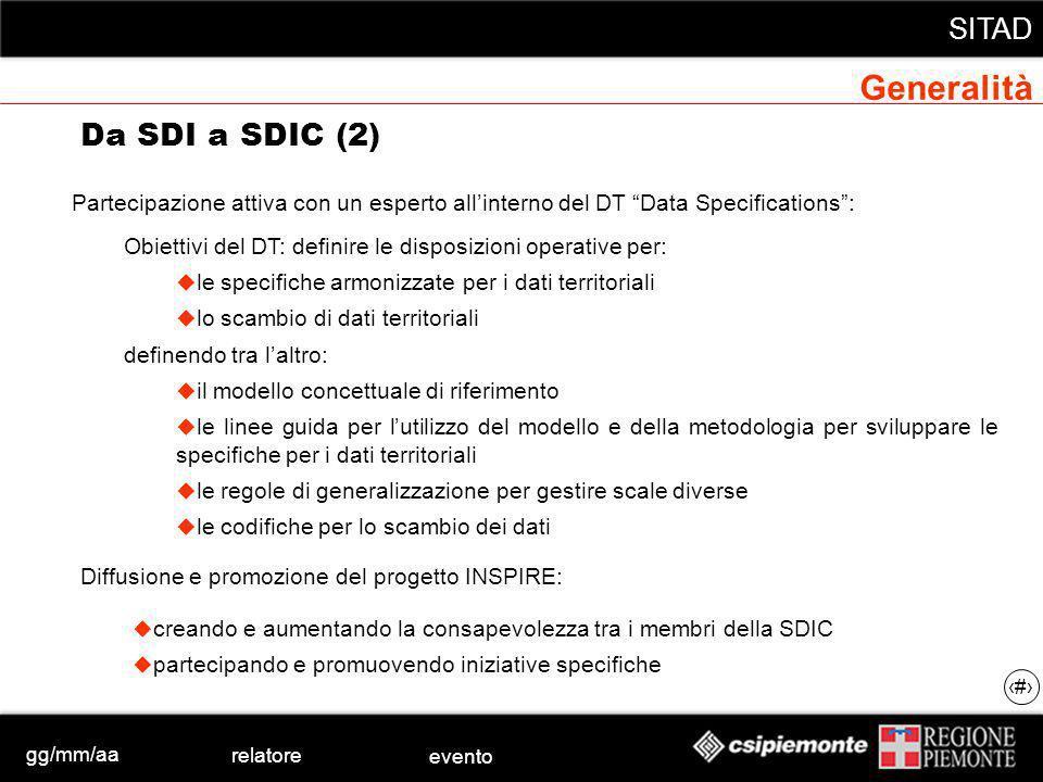 gg/mm/aa relatore evento SITAD 18 permettere la visualizzazione simultanea di dati provenienti e gestiti dalle singole fonti (es.