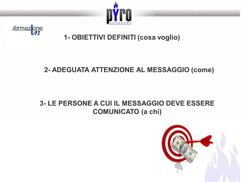 Le abilità essenziali per il salto di qualità 1- OBIETTIVI DEFINITI (cosa voglio) 2- ADEGUATA ATTENZIONE AL MESSAGGIO (come) 3- LE PERSONE A CUI IL ME