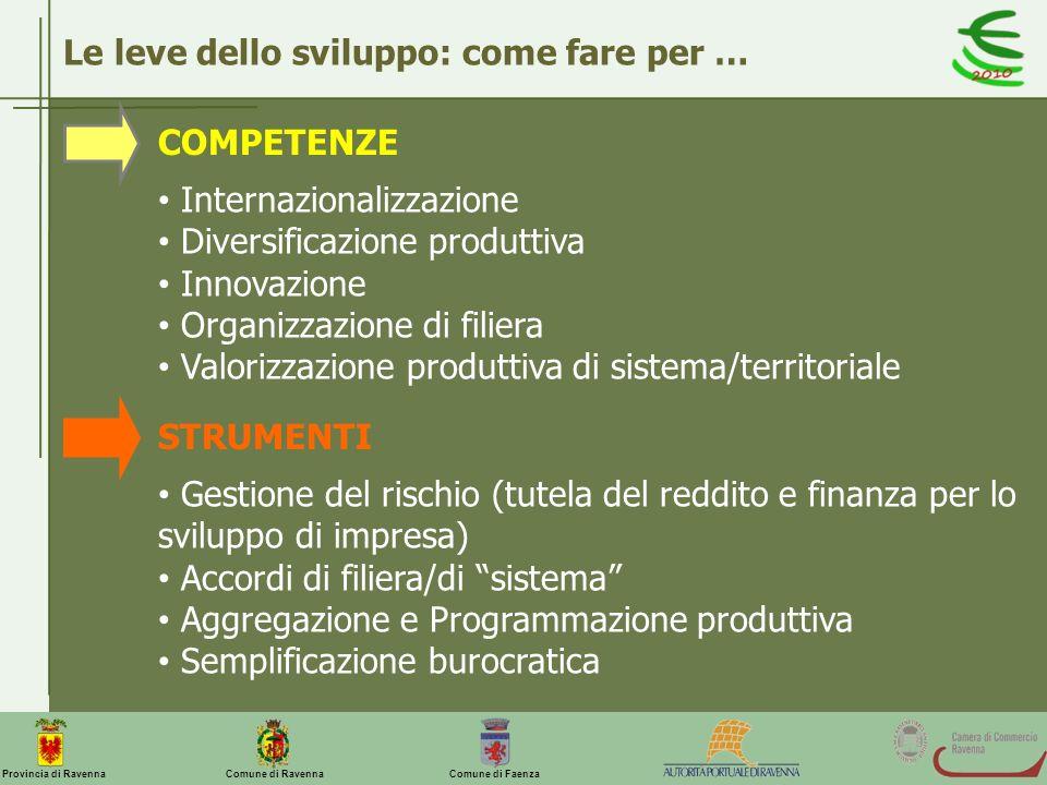 Comune di Ravenna Comune di FaenzaProvincia di Ravenna Le leve dello sviluppo: come fare per … COMPETENZE STRUMENTI Internazionalizzazione Diversifica