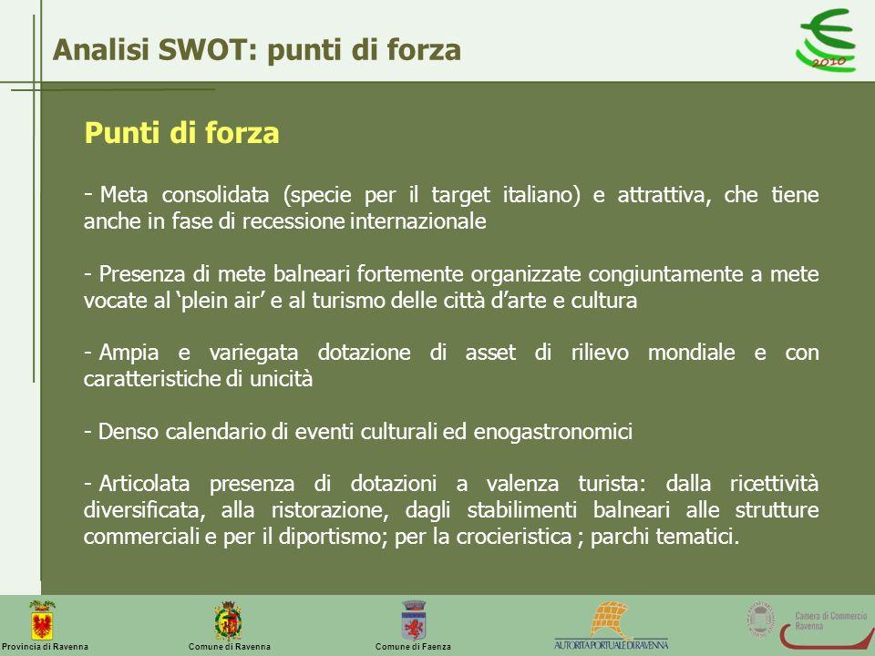 Comune di Ravenna Comune di FaenzaProvincia di Ravenna Analisi SWOT: punti di forza Punti di forza - Meta consolidata (specie per il target italiano)