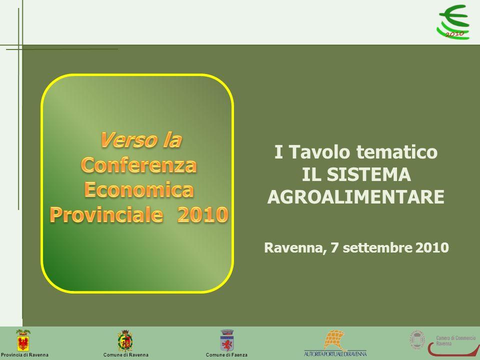 Comune di Ravenna Comune di FaenzaProvincia di Ravenna I Tavolo tematico IL SISTEMA AGROALIMENTARE Ravenna, 7 settembre 2010