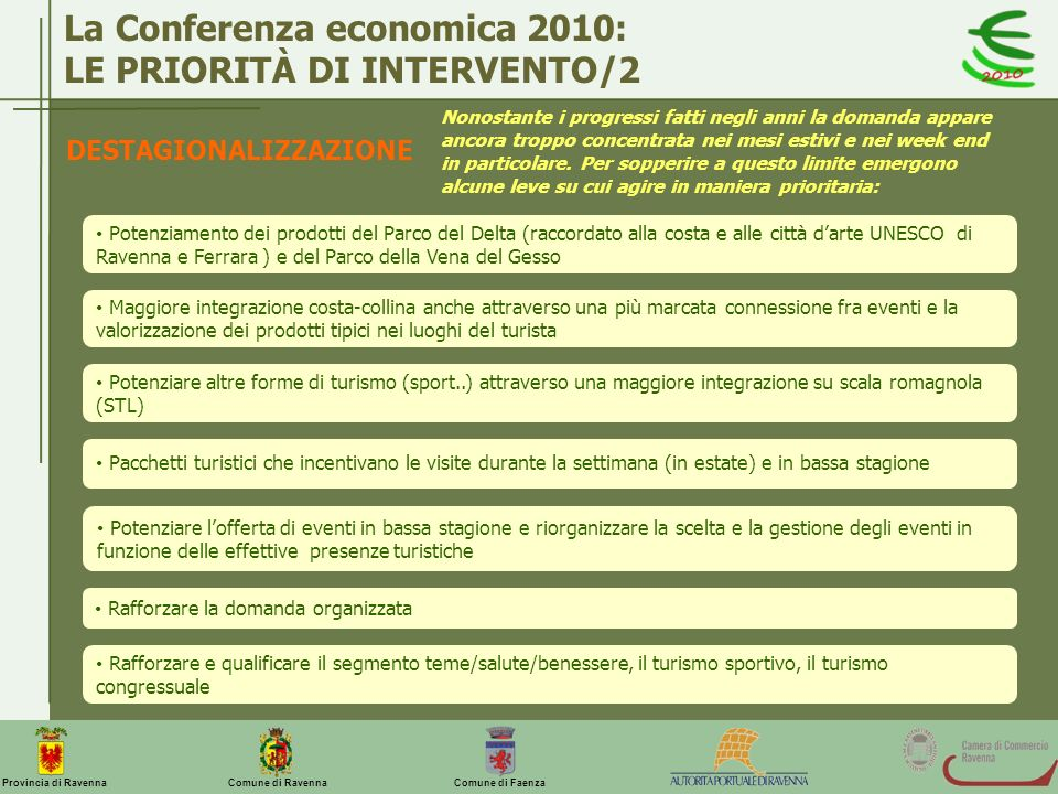 Comune di Ravenna Comune di FaenzaProvincia di Ravenna La Conferenza economica 2010: LE PRIORITÀ DI INTERVENTO/2 DESTAGIONALIZZAZIONE Nonostante i pro