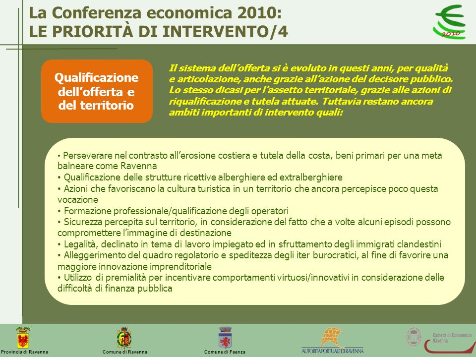 Comune di Ravenna Comune di FaenzaProvincia di Ravenna La Conferenza economica 2010: LE PRIORITÀ DI INTERVENTO/4 Qualificazione dellofferta e del terr