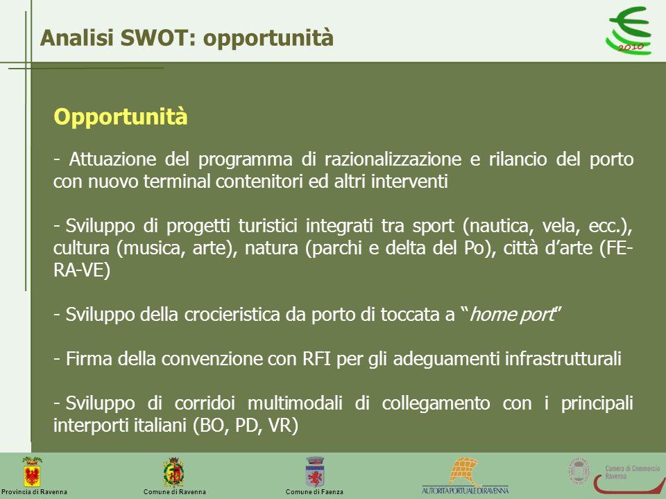 Comune di Ravenna Comune di FaenzaProvincia di Ravenna Opportunità - Attuazione del programma di razionalizzazione e rilancio del porto con nuovo term