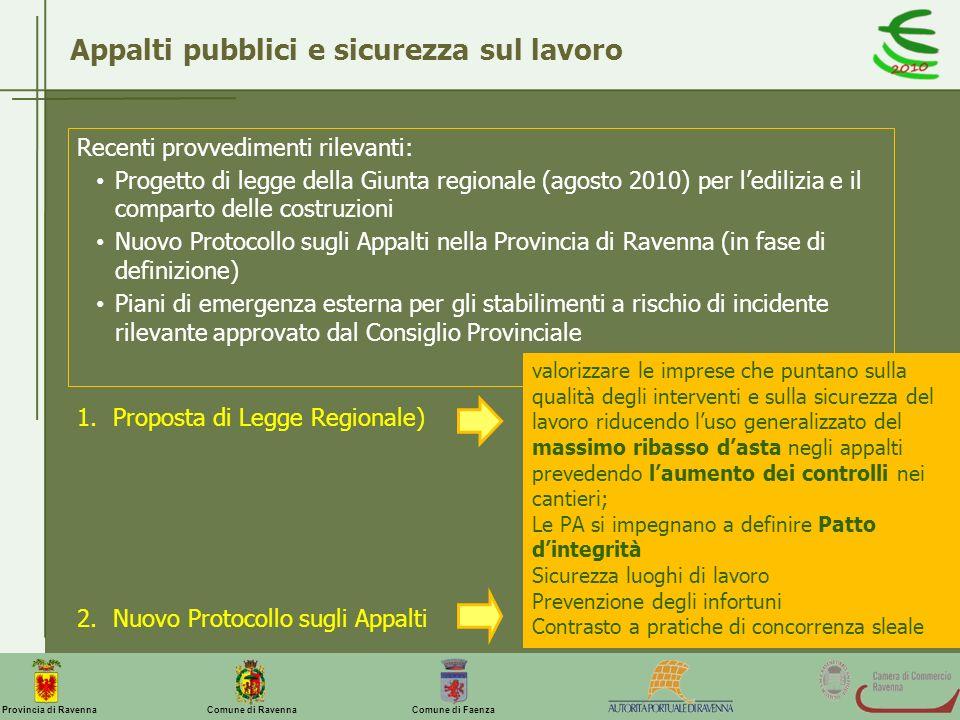 Comune di Ravenna Comune di FaenzaProvincia di Ravenna Appalti pubblici e sicurezza sul lavoro Recenti provvedimenti rilevanti: Progetto di legge dell