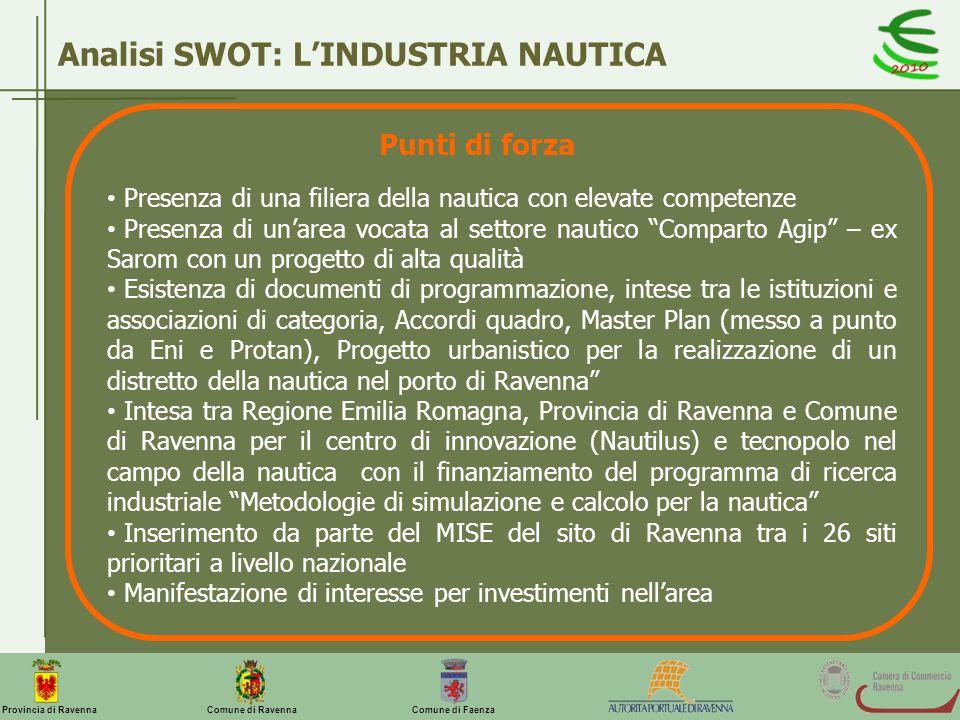 Comune di Ravenna Comune di FaenzaProvincia di Ravenna Analisi SWOT: LINDUSTRIA NAUTICA Punti di forza Presenza di una filiera della nautica con eleva