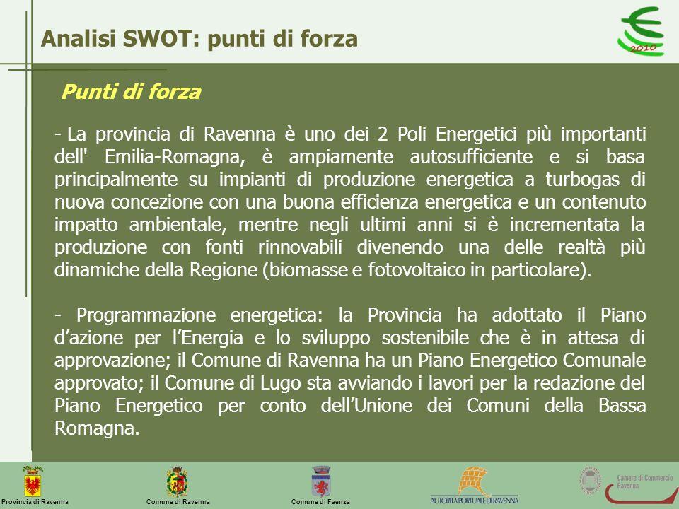 Comune di Ravenna Comune di FaenzaProvincia di Ravenna Analisi SWOT: punti di forza - La provincia di Ravenna è uno dei 2 Poli Energetici più importan