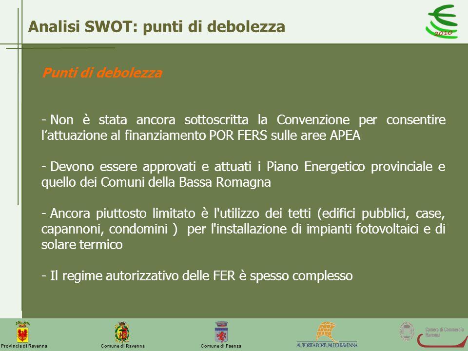 Comune di Ravenna Comune di FaenzaProvincia di Ravenna Punti di debolezza - Non è stata ancora sottoscritta la Convenzione per consentire lattuazione