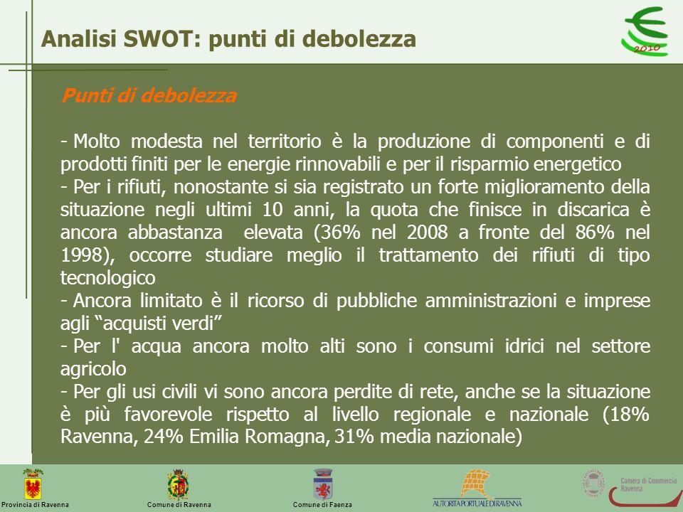 Comune di Ravenna Comune di FaenzaProvincia di Ravenna Analisi SWOT: punti di debolezza Punti di debolezza - Molto modesta nel territorio è la produzi
