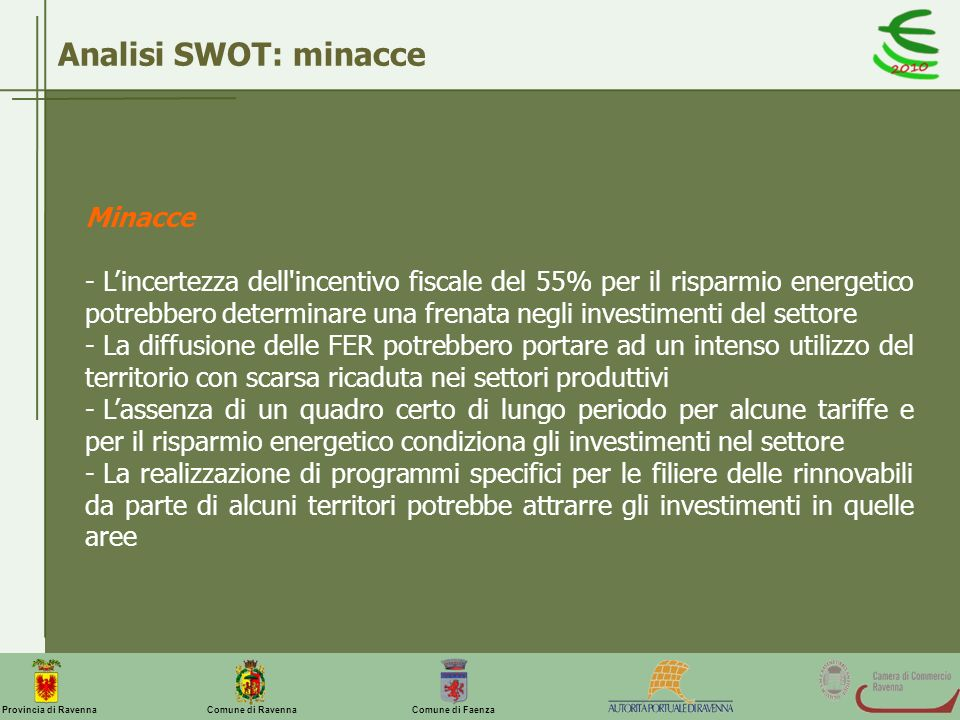 Comune di Ravenna Comune di FaenzaProvincia di Ravenna Analisi SWOT: minacce Minacce - Lincertezza dell'incentivo fiscale del 55% per il risparmio ene
