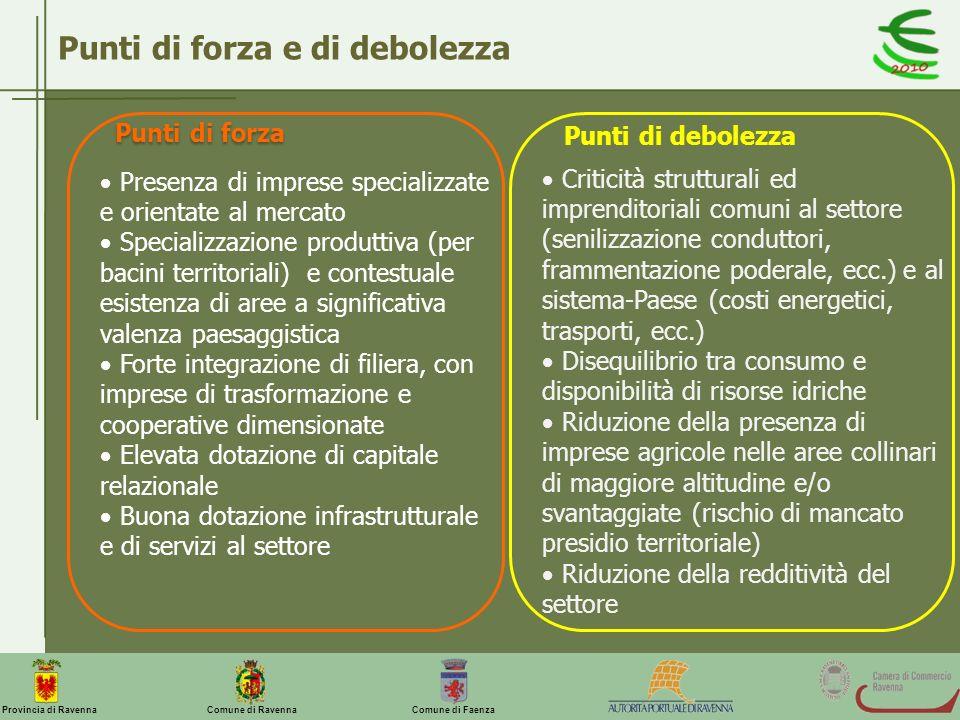 Comune di Ravenna Comune di FaenzaProvincia di Ravenna Punti di forza e di debolezza Presenza di imprese specializzate e orientate al mercato Speciali