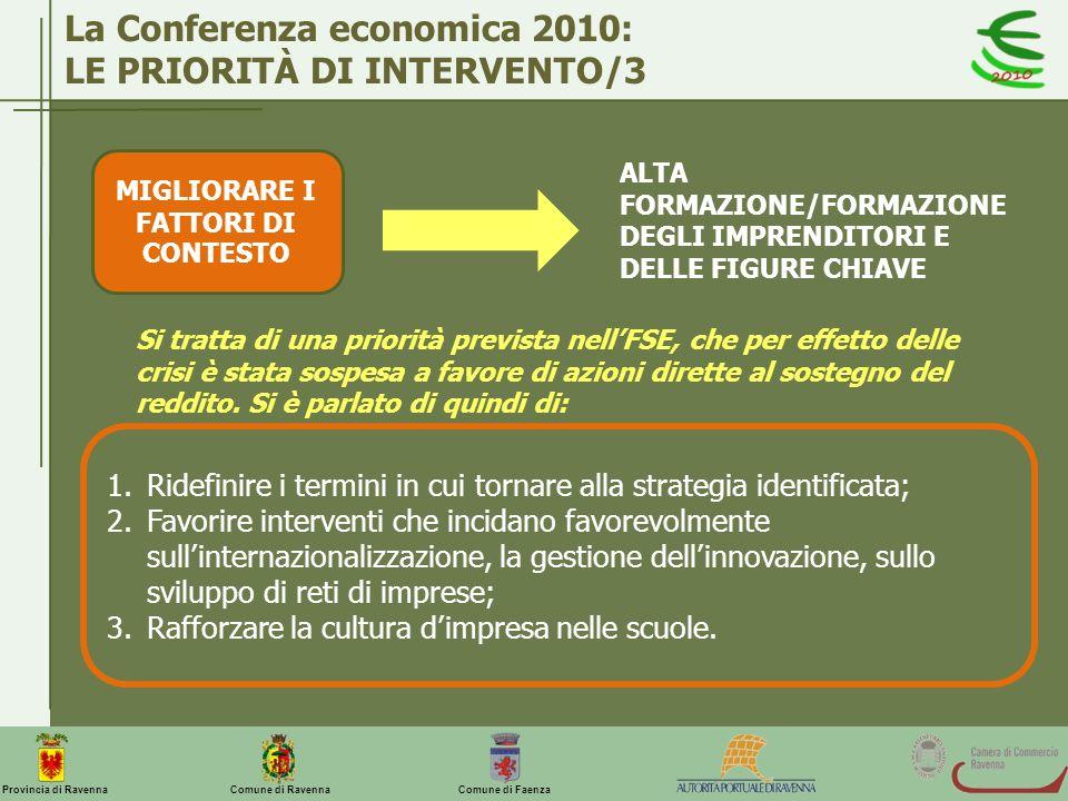 Comune di Ravenna Comune di FaenzaProvincia di Ravenna La Conferenza economica 2010: LE PRIORITÀ DI INTERVENTO/3 MIGLIORARE I FATTORI DI CONTESTO ALTA