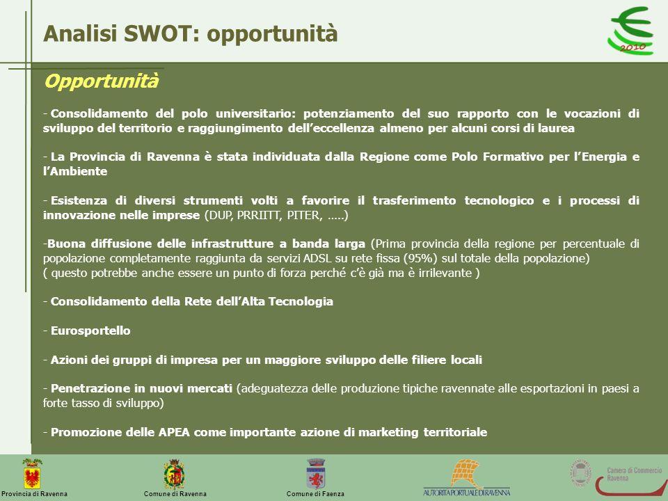 Comune di Ravenna Comune di FaenzaProvincia di Ravenna Analisi SWOT: opportunità Opportunità - Consolidamento del polo universitario: potenziamento de