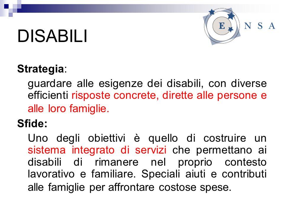 DISABILI Strategia: guardare alle esigenze dei disabili, con diverse efficienti risposte concrete, dirette alle persone e alle loro famiglie.