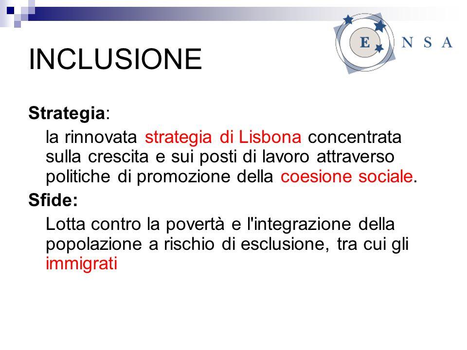 INCLUSIONE Strategia: la rinnovata strategia di Lisbona concentrata sulla crescita e sui posti di lavoro attraverso politiche di promozione della coesione sociale.