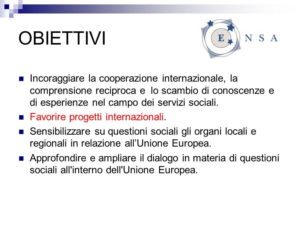 OBIETTIVI Incoraggiare la cooperazione internazionale, la comprensione reciproca e lo scambio di conoscenze e di esperienze nel campo dei servizi sociali.