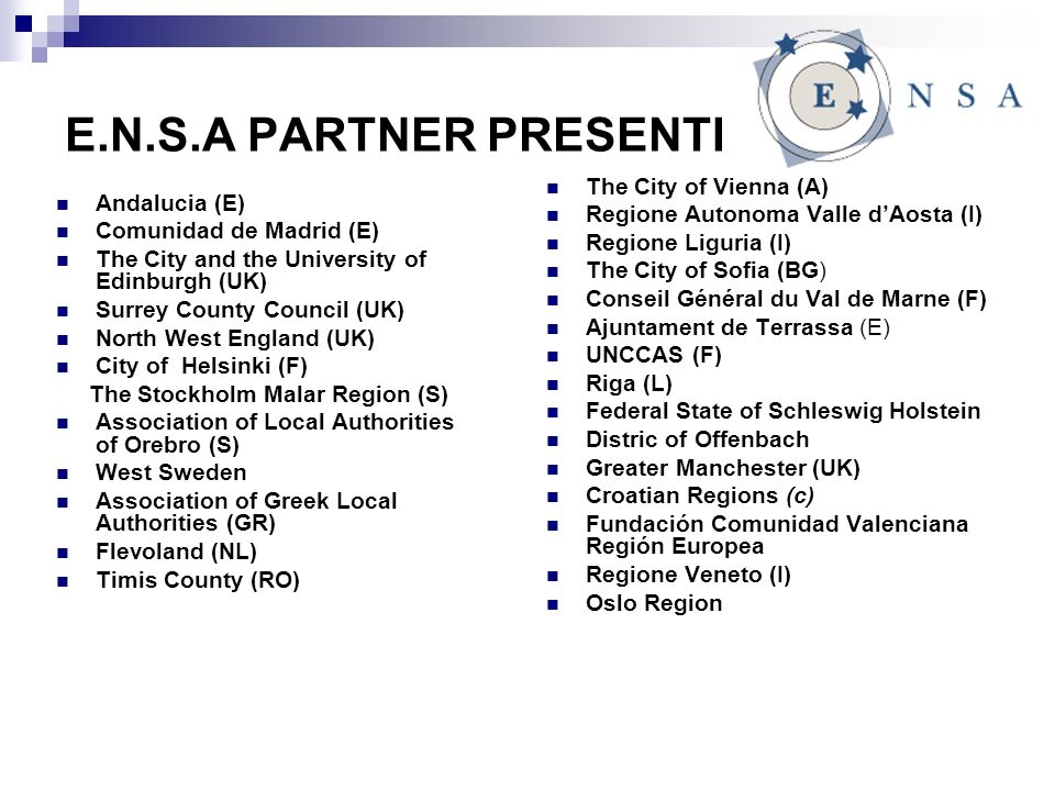 E.N.S.A PARTNER PRESENTI Andalucia (E) Comunidad de Madrid (E) The City and the University of Edinburgh (UK) Surrey County Council (UK) North West England (UK) City of Helsinki (F) The Stockholm Malar Region (S) Association of Local Authorities of Orebro (S) West Sweden Association of Greek Local Authorities (GR) Flevoland (NL) Timis County (RO) The City of Vienna (A) Regione Autonoma Valle dAosta (I) Regione Liguria (I) The City of Sofia (BG) Conseil Général du Val de Marne (F) Ajuntament de Terrassa (E) UNCCAS (F) Riga (L) Federal State of Schleswig Holstein Distric of Offenbach Greater Manchester (UK) Croatian Regions (c) Fundación Comunidad Valenciana Región Europea Regione Veneto (I) Oslo Region