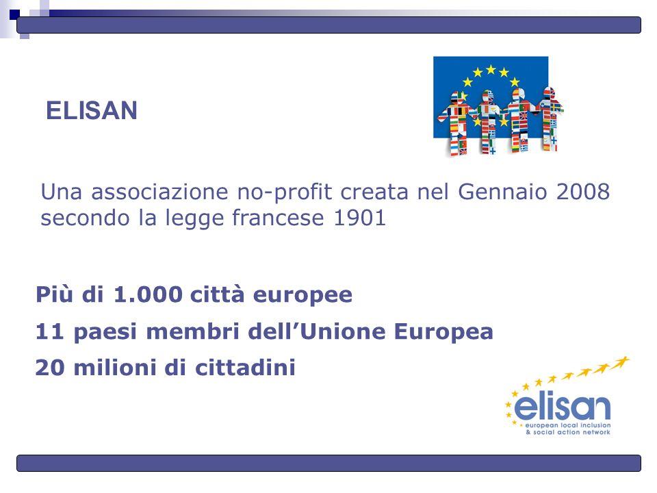 ELISAN Una associazione no-profit creata nel Gennaio 2008 secondo la legge francese 1901 Più di 1.000 città europee 11 paesi membri dellUnione Europea 20 milioni di cittadini