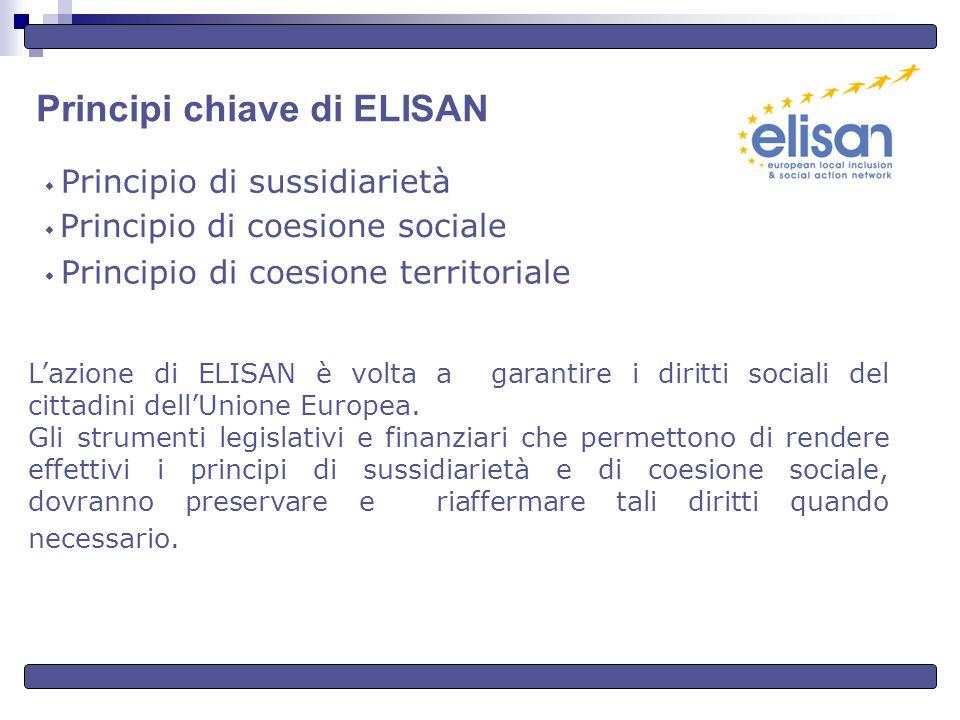 Principi chiave di ELISAN Principio di sussidiarietà Principio di coesione sociale Principio di coesione territoriale Lazione di ELISAN è volta a garantire i diritti sociali del cittadini dellUnione Europea.