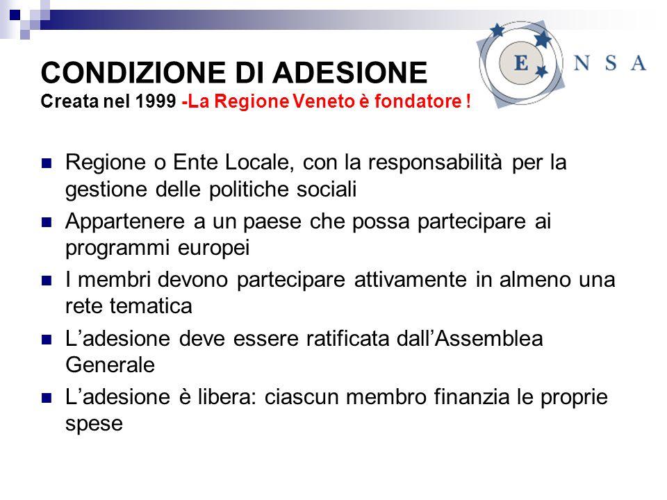 CONDIZIONE DI ADESIONE Creata nel 1999 -La Regione Veneto è fondatore .