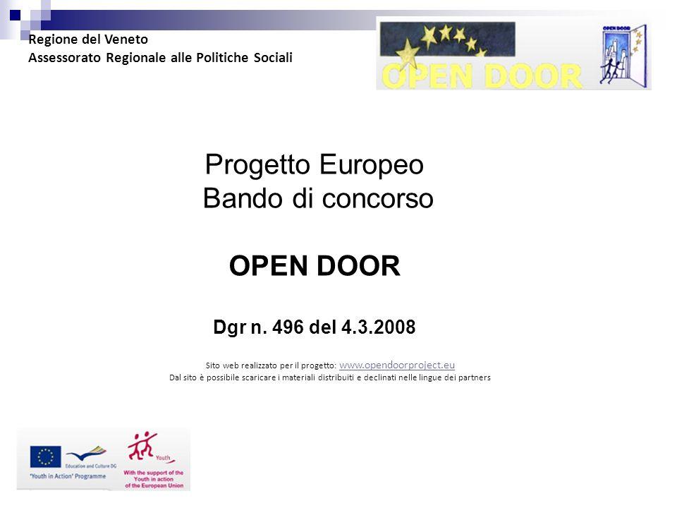 Progetto Europeo Bando di concorso OPEN DOOR Dgr n.