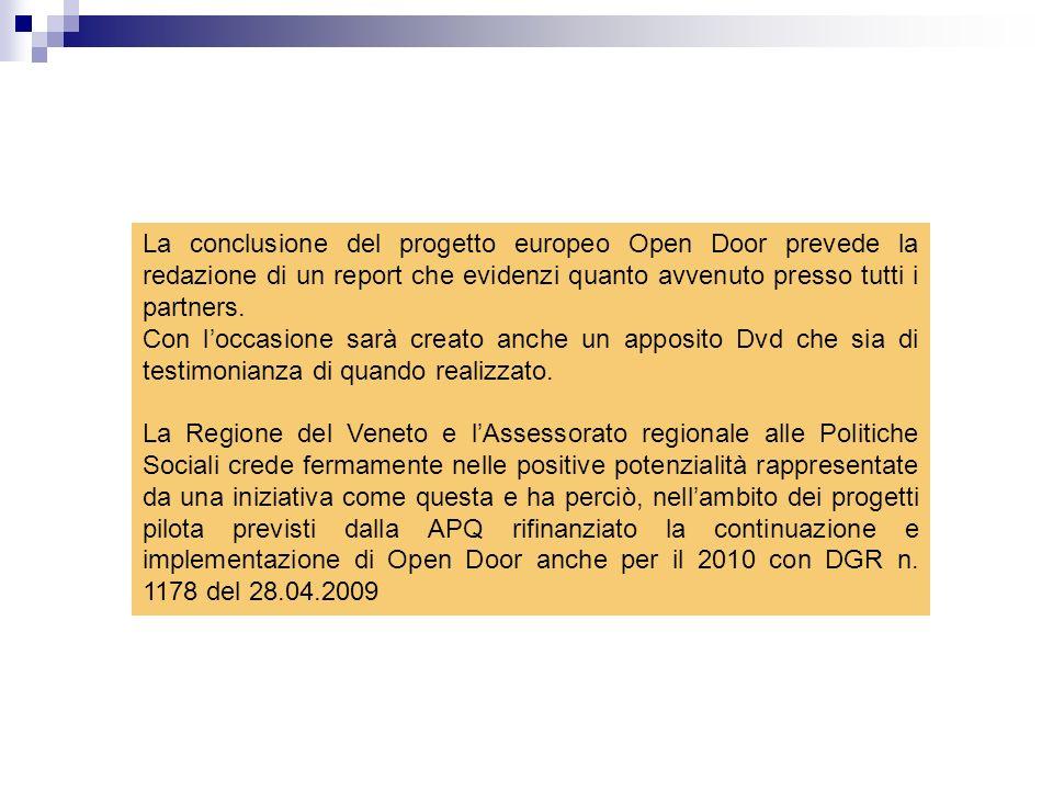 La conclusione del progetto europeo Open Door prevede la redazione di un report che evidenzi quanto avvenuto presso tutti i partners.