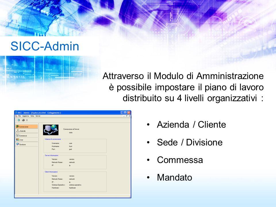 Attraverso il Modulo di Amministrazione è possibile impostare il piano di lavoro distribuito su 4 livelli organizzativi : Azienda / Cliente Sede / Div