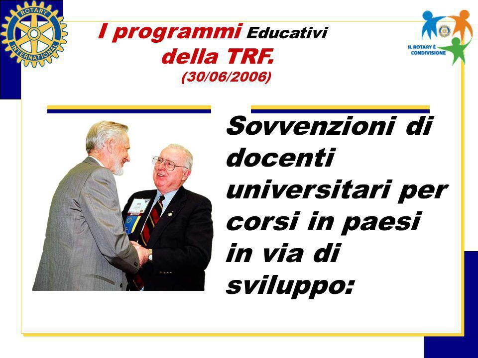 Sovvenzioni di docenti universitari per corsi in paesi in via di sviluppo: I programmi Educativi della TRF.