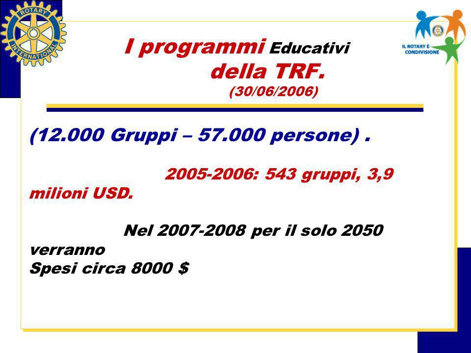 I programmi Educativi della TRF. (30/06/2006) (12.000 Gruppi – 57.000 persone).