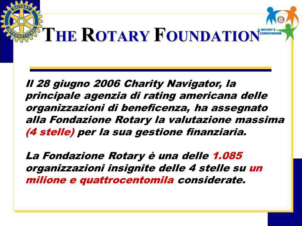 Il 28 giugno 2006 Charity Navigator, la principale agenzia di rating americana delle organizzazioni di beneficenza, ha assegnato alla Fondazione Rotary la valutazione massima (4 stelle) per la sua gestione finanziaria.