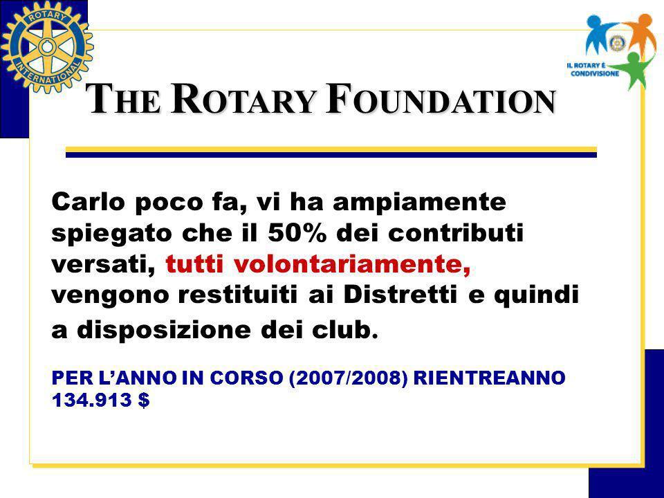 T HE R OTARY F OUNDATION Carlo poco fa, vi ha ampiamente spiegato che il 50% dei contributi versati, tutti volontariamente, vengono restituiti ai Distretti e quindi a disposizione dei club.