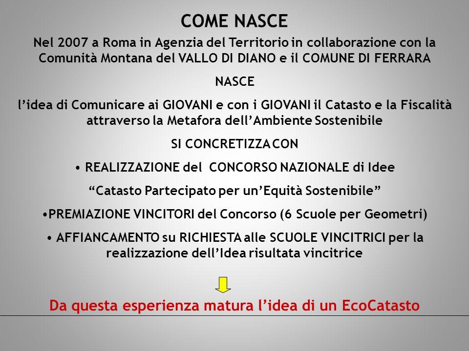 COME NASCE Nel 2007 a Roma in Agenzia del Territorio in collaborazione con la Comunità Montana del VALLO DI DIANO e il COMUNE DI FERRARA NASCE lidea d