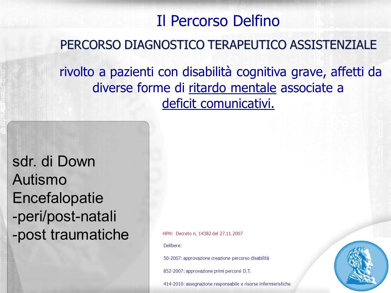 Il Percorso Delfino PERCORSO DIAGNOSTICO TERAPEUTICO ASSISTENZIALE rivolto a pazienti con disabilità cognitiva grave, affetti da diverse forme di rita