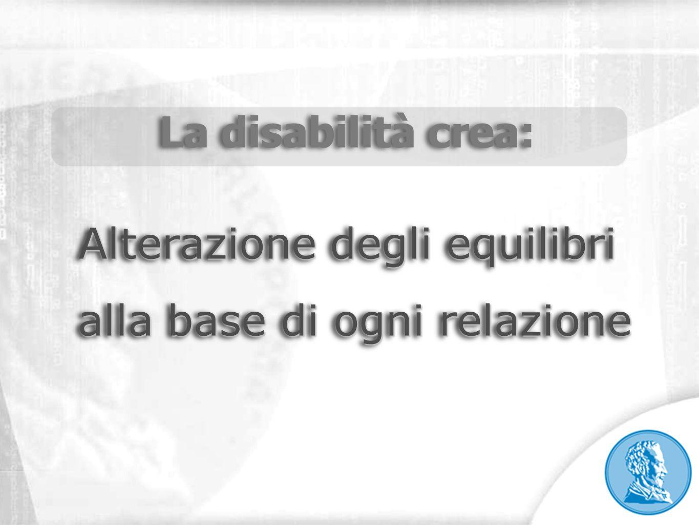 La disabilità crea: Alterazione degli equilibri alla base di ogni relazione alla base di ogni relazione La disabilità crea: Alterazione degli equilibr